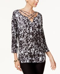 Thalia Sodi Lattice Trim Top Created For Macy's Dabbled Spots Black White Combo