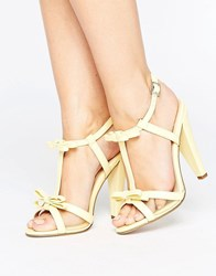 Paper Dolls Heeled Sandal With Mesh And Bow Ankle Strap Lemon Yellow
