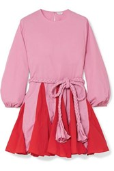 Rhode Resort Ella Two Tone Belted Cotton Mini Dress Pink