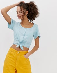 Brave Soul Tyene Crop T Shirt With Buttons And Tie Front Blue
