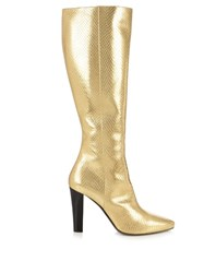 Saint Laurent Lily Python Effect Leather Knee Boots Gold