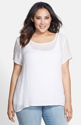 Bobeau High Low Textured Blouse Plus Size Ivory