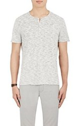 John Varvatos Star U.S.A. Striped Short Sleeve Henley Grey