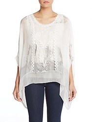 Saks Fifth Avenue Embroidered Tie Dye Blouse