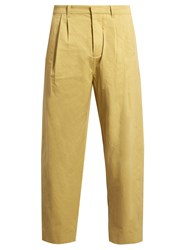 Fanmail Pleat Front Cotton Straight Leg Trousers Gold