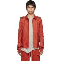 Rick Owens Red Leather Rotterdam Jacket