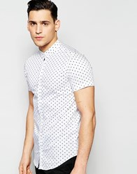 Vito Short Sleeve Shirt With All Over Heart Print White