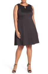Plus Size Women's Ellen Tracy Keyhole Detail Scuba Knit Fit And Flare Dress