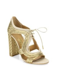 Salvatore Ferragamo Edith Twist Lace Up Leather Booties Mekong
