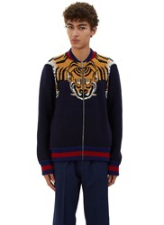 Gucci Tiger Intarsia Knit Bomber Jacket