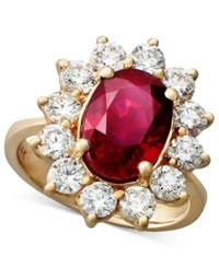 Effy Collection Rosa By Effy Ruby 3 3 4 Ct. T.W. And Diamond 1 3 4 Ct. T.W. Oval Ring In 14K Rose Gold