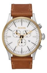 Nixon Men's The Sentry Chronograph Leather Strap Watch 42Mm Tan Cream Gold