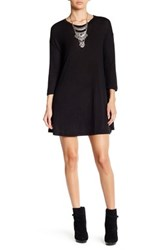Angie 3 4 Length Sleeve Lightweight Sweater Dress Black