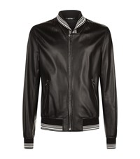 Dolce And Gabbana Leather Bomber Jacket Male Black