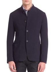 Armani Collezioni Textured Virgin Wool Blend Jersey Jacket Navy