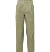 Fanmail Cropped Pleated Organic Cotton Trousers Sage Green