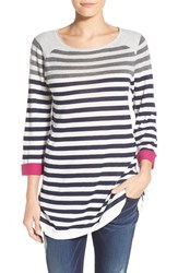 Women's Caslon Cuff Sleeve Cotton Blend Knit Tunic Heather Grey Navy Stripe