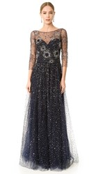 Marchesa Tulle Gown Navy