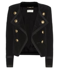 Saint Laurent Cotton Velvet Jacket Black