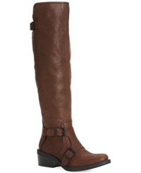 Calvin Klein Jeans Ck Jeans Geana To The Knee Riding Boots Women's Shoes Dark Brown Leather
