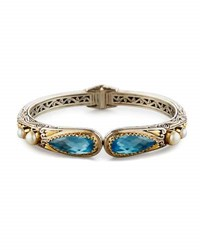 Konstantino Amphitrite Blue Topaz And Pearl Hinged Bangle Bracelet