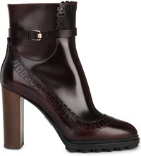 Tod's Pointed Toe Leather Boots Wine