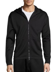 Vince Cotton Blend Hooded Jacket Black