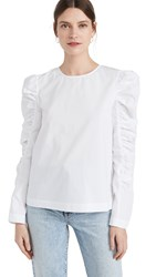 English Factory Gathered Puff Long Sleeve Top White