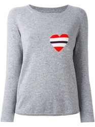 Chinti And Parker Striped Heart Logo Sweater Grey