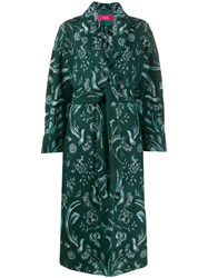 F.R.S For Restless Sleepers Belted Floral Print Coat Green
