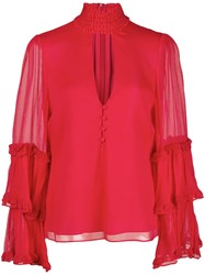 Alexis Ruffle Trimmed Blouse Red