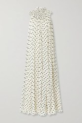 Adam By Adam Lippes Flocked Silk Blend Crepon Gown Cream