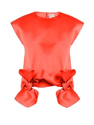 Maison Rabih Kayrouz Tie Front Sleeveless Top Orange