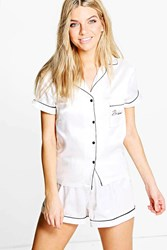 Boohoo Bridesmaid Embroidered Satin Tshirt Short Set White