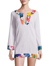 Milly Crinkle Cotton Combo Tunic White