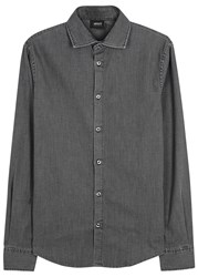 Armani Jeans Charcoal Stretch Denim Shirt Grey