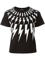 Neil Barrett Lightning Bolt Print T Shirt Black