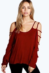 Boohoo Strappy Sleeve Loose Fit Top Berry