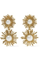 Oscar De La Renta Sun Star Gold Plated Faux Pearl Clip Earrings One Size