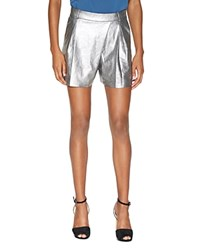Halston Heritage Metallic Suede Shorts Metallic Graphite