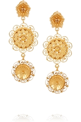 Dolce And Gabbana Filigree Gold Plated Swarovski Crystal Clip Earrings