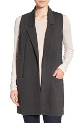 Bobeau Women's Long Knit Vest Charcoal