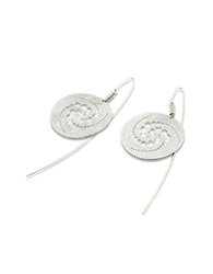Stefano Patriarchi Silver Etched Crop Circle Round Drop Earrings