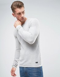 Only And Sons Knitted Sweater In Textured Knit Gray