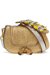 Anya Hindmarch Vere Mini Metallic Textured Leather Shoulder Bag Gold