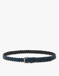 Caputo And Co. Slim Braided Leather Belt In Navy