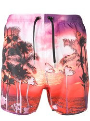 Neil Barrett Palm Tree Swimming Shorts Pink