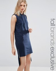 Noisy May Tall Hooded Dress With High Low Hem Navy