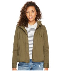 Lucky Brand Raw Edge Military Jacket Olive Night Women's Coat Green