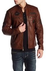 Affliction Fatal Hour Genuine Leather Jacket Brown